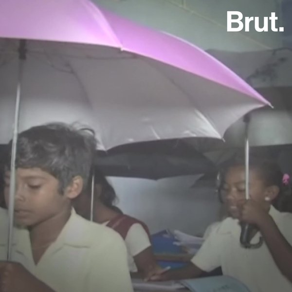 In Jharkhand School: Leaking Roof, Open Umbrella